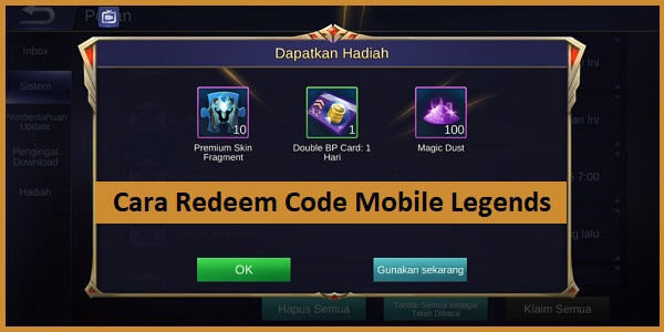 Cara Redeem Code Mobile Legends