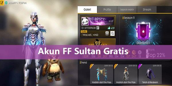 Akun FF Sultan Gratis 2020